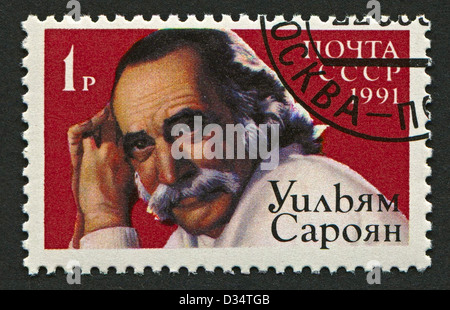 USSR - CIRCA 1991: Postage stamp printed in USSR dedicated to William Saroyan (1908-1981), Armenian American dramatist - Stock Photo