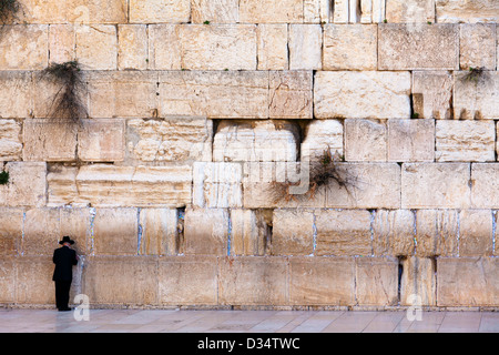 view of the Jerusalem wailing wall, Israel - Stock Photo