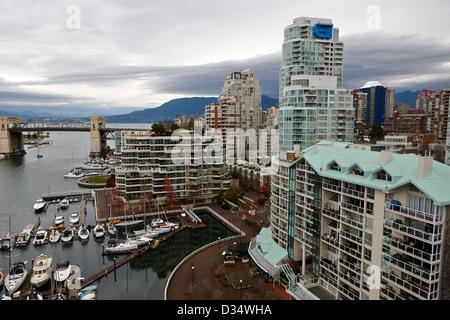 waterfront properties at false creek Vancouver BC Canada - Stock Photo