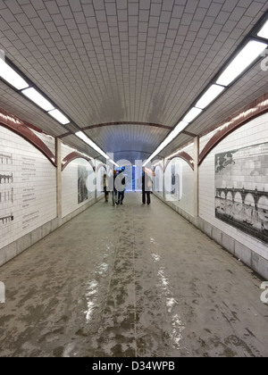 Pedestrian underpass as the Thames Path passes under Blackfriars Bridge - Stock Photo