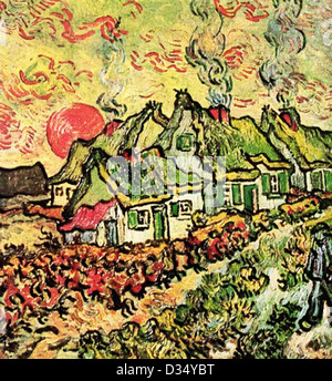 Vincent van Gogh, Cottages Reminiscence of the North. 1890. Post-Impressionism. Oil on canvas. Creation:Saint-Rémy - Stock Photo