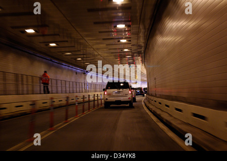 Exiting Hugh Carey formerly Brooklyn Battery tunnel at lower Manhattan which was flooded by hurricane Sandy on October - Stock Photo