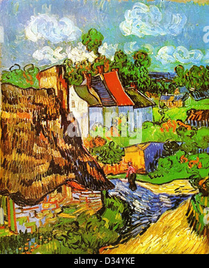 Vincent van Gogh, Houses in Auvers 2. 1890. Post-Impressionism. Oil on canvas. Museum of Fine Arts, Boston, MA, - Stock Photo