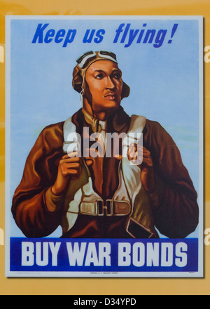 WWII War Bonds promotion poster featuring Tuskegee Airman William Diez - USA - Stock Photo
