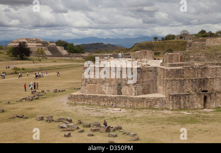 View of terraces from top of South Platform at Monte Albán, Oaxaca, Mexico. - Stock Photo