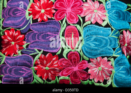 Closeup of embroidered bag for sale at market on Zocalo, Oaxaca, Mexico. - Stock Photo