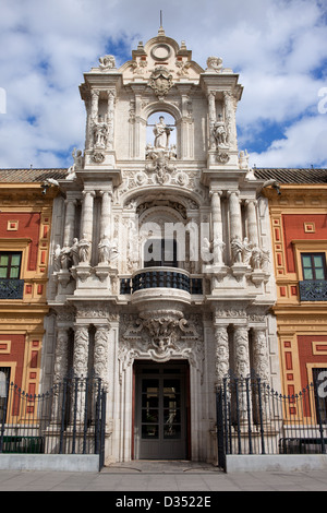 Palace of San Telmo 18th century Baroque style portal in Seville, Spain, Andalusia region. - Stock Photo