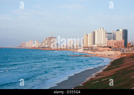 The skyline and beach front of Tel Aviv, Israel looking north - Stock Photo