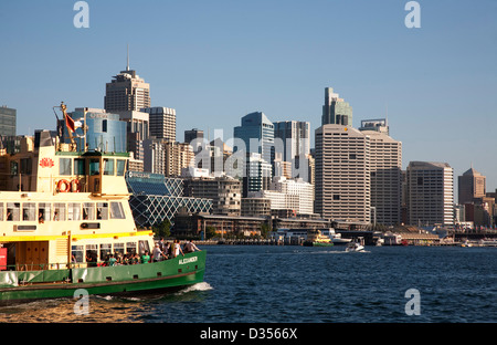 The Sydney Harbour ferry 'Alexander' arriving in Darling Harbour Sydney Australia - Stock Photo