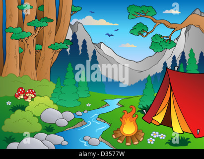 Cartoon forest landscape 4 - color illustration. - Stock Photo
