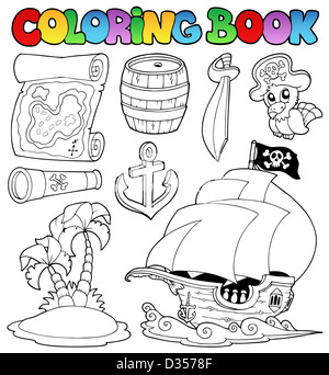 Coloring book with pirate objects - thematic illustration. - Stock Photo