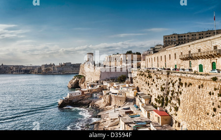 Great Harbour of Valletta with the Siege Bell Memorial erected in 1992 - Stock Photo