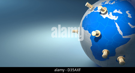Earth and thumbtacks on blue background. 3d - Stock Photo