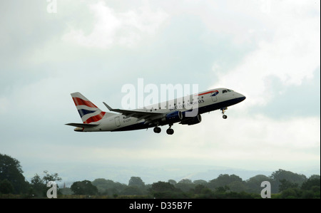 British Airways Embraer E170 ERJ170-100 aircraft registration G-LCYI takes off from Manchester Airport - Stock Photo