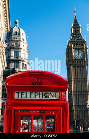Red telephone box and Big Ben London England Great Britain UK - Stock Photo