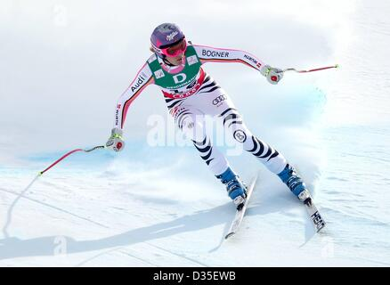 10.02.2013, Schladming, Austria. FIS Alpine Ski World Championships 2013 Downhill  for women Picture shows Maria - Stock Photo