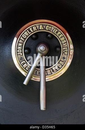 Detail (smokebox door handles) of vintage steam engine, Cheshire Steam Fair, 2012. - Stock Photo