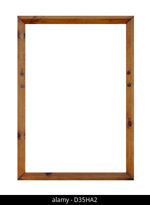 Blank wooden picture frame with copy space, white background. - Stock Photo