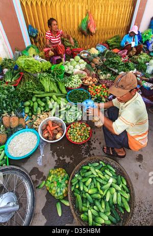 Market in Kratie, Cambodia. - Stock Photo