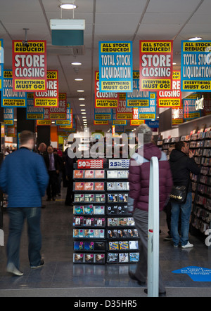 The Closing Sale of HMV The shops and streets of the Lancashire Town of Wigan, UK - Stock Photo