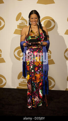 Feb. 10, 2013 - Los Angelles, California, USA - Lila Downs receives Best Regional Mexican Music Album ''Pecados - Stock Photo