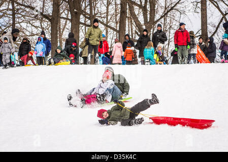 New York, USA. 9th February 2013. Two children and one adult sled downhill in Fort Greene Park in front of a crowd - Stock Photo