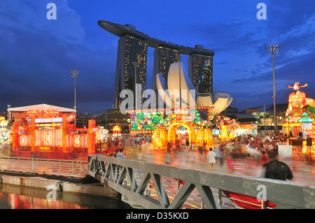 One of the highlights of the Chinese New Year celebration in Singapore is the River Hongbao. - Stock Photo