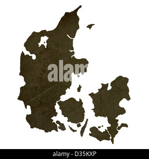 Dark silhouetted and textured map of Denmark isolated on white background. - Stock Photo