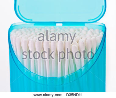 hygienic sticks in plastic container on white background - Stock Photo