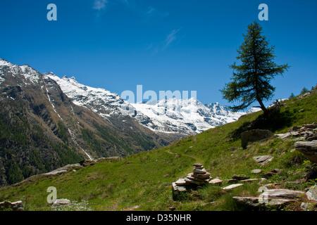 Alpine landscape view, Gran Paradiso National Park, Graian Alps, Italy - Stock Photo