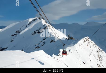 Rote Nase, cable car near Zermatt - Stock Photo