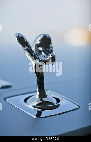Spirit of Ecstasy, hood ornament on the Rolls Royce Ghost luxury saloon car, Goodwood, UK, 15 04 2010 - Stock Photo