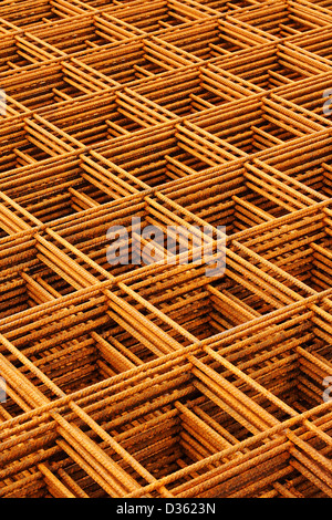 welded wire mesh stacked creating abstract industrial or engineering background - Stock Photo