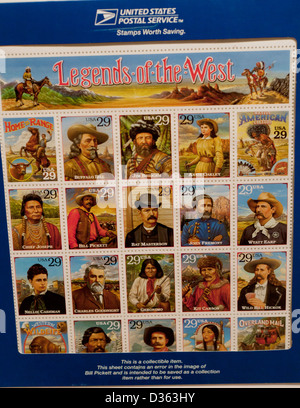 Legends of the West collectible stamp sheet - Stock Photo