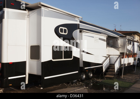 Mobile home on wheels - Stock Photo