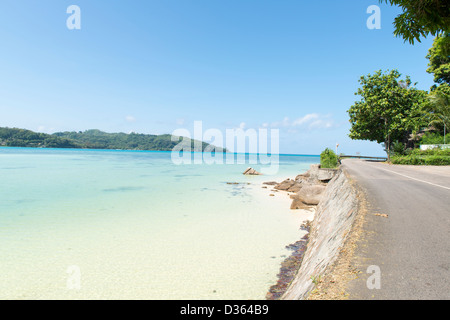 beach of Mahe island, Seychelles - Stock Photo