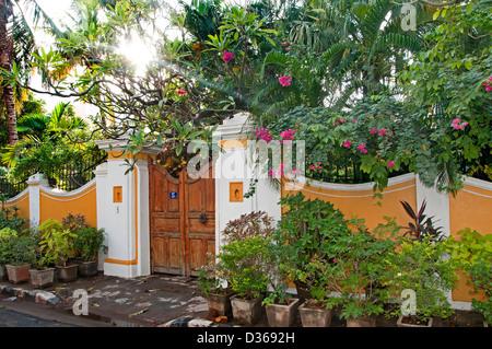 House with garden puducherry pondicherry india tamil nadu stock photo