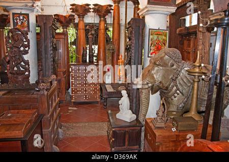 Antique Shop Tavikneswaran Geerhanjaky Puducherry ( Pondicherry ) India  Tamil Nadu - Stock Photo - Antique Shop, Pondicherry, Tamil Nadu, India Stock Photo, Royalty