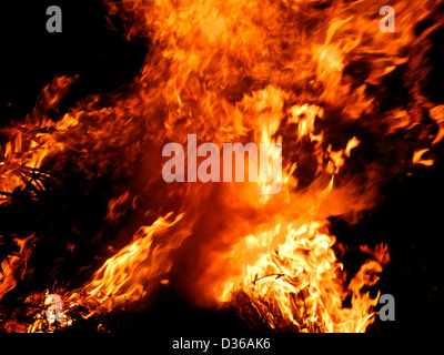 Flames fire burning conflagration inferno - Stock Photo
