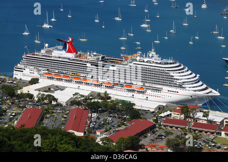Carnival Breeze Cruise Ship seen from Paradise Point, Charlotte Amalie, St. Thomas, US Virgin Islands, Caribbean - Stock Photo