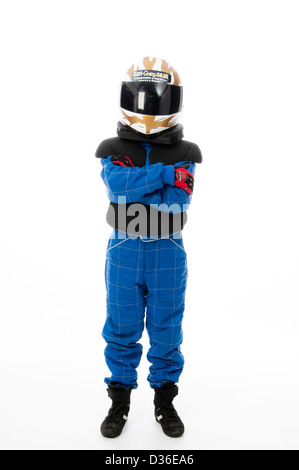 Child Wearing Motorsport Protective Clothing - Stock Photo