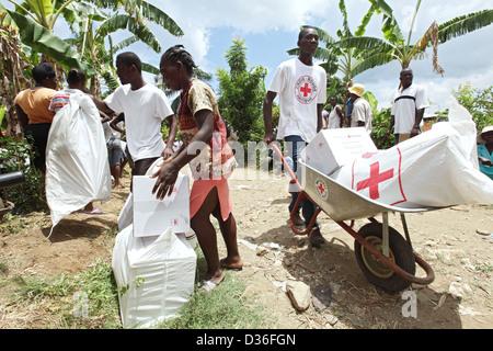 leogane, haiti, hatian red cross volunteers at an aid
