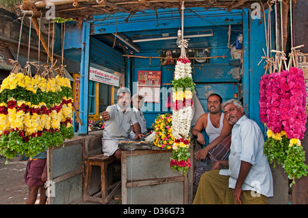 Madurai India Flower Flowers Market Indian Tamil Nadu Town City Center - Stock Photo