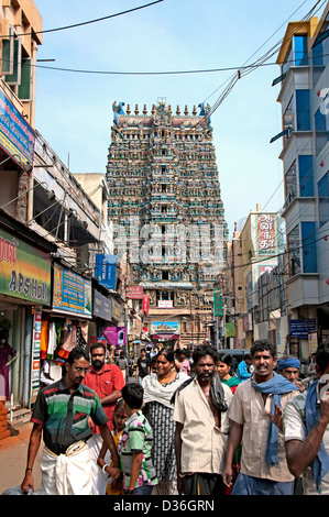 Sri Meenakshi Amman Temple Hindu ( dedicated to Parvati - Meenakshi-  Shiva- Sundareswarar )  Madurai India - Stock Photo