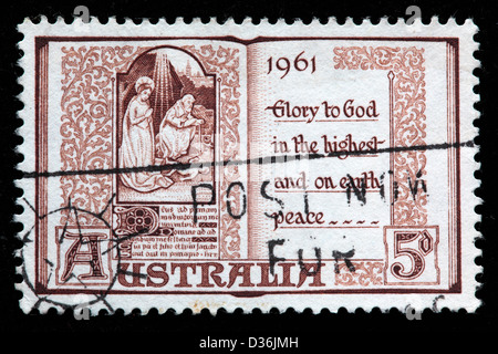Page from Book of Hours, 15th Century, Christmas, postage stamp, Australia, 1961 - Stock Photo