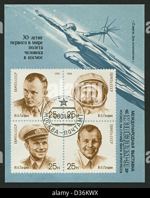 USSR - CIRCA 1991: Postage stamp printed in USSR dedicated to Yuri Alekseyevich Gagarin (1934-1968), Soviet pilot - Stock Photo