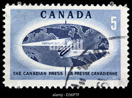 Canadian press anniversary, postage stamp, Canada, 1967 - Stock Photo