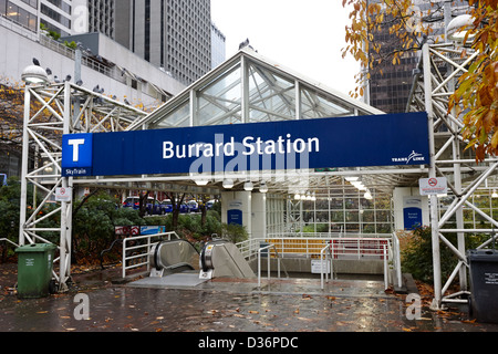 entrance to burrard station skytrain downtown Vancouver BC Canada - Stock Photo