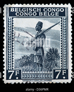 Askari soldier, postage stamp, Belgian Congo, 1942 - Stock Photo