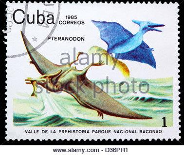 Pteranodon, Dinosaur, postage stamp, Cuba, 1985 - Stock Photo